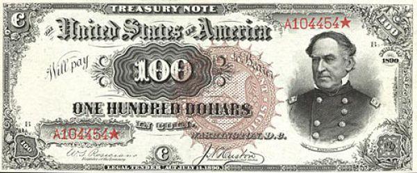 100 долларов США образца 1890 года