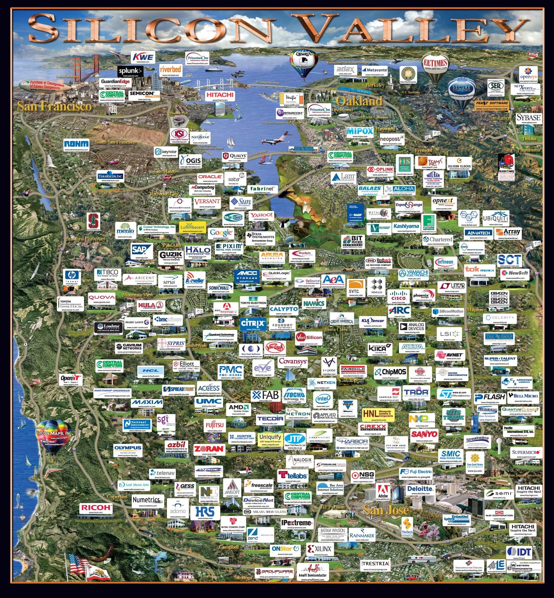 Карта силиконовой долины
