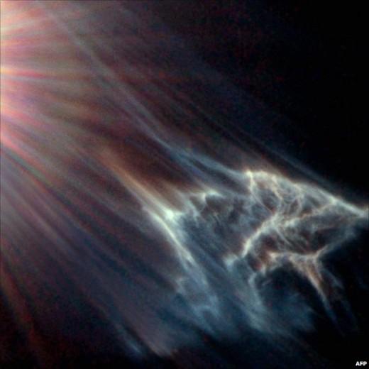 эффект звездного света на облаке газа и пыли в звездном скопление Плеяды