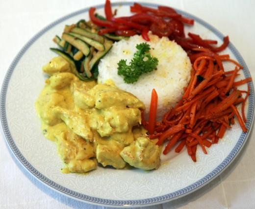 Рецепт для похудения: курица с карри и манго и салатом из моркови