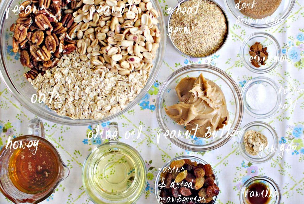 Орехи пекан и арахис, овсяные хлопья, зародыши пшеницы, темный сахар, корица, соль крупного помола, оливковое масло, арахисовое масло, имбирь, мед, сушеные изюм и клюква, экстракт ванили