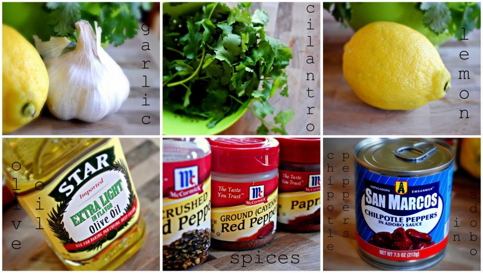 Вам понадобятся чеснок, петрушка, лимон, оливковое масло, кайенский перец, паприка, соль крупного помола, черный перец и консервированный перец чилпотл