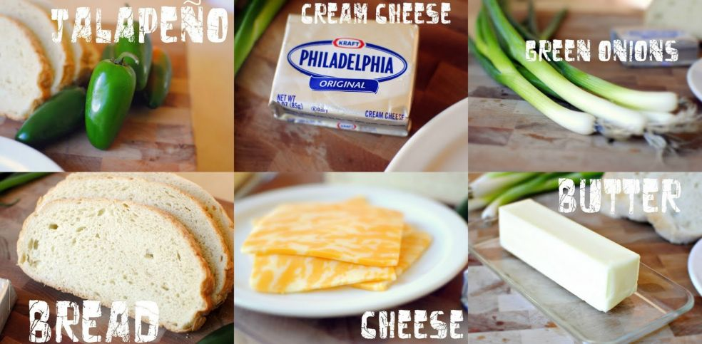 Перец халапеньо, творог, зеленый лук, батон, сыр, сливочное масло